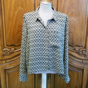 Reitmans olive green and black high low blouse